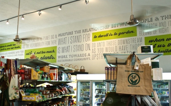 The mural at the new Citizens Co-op in Gainsville, FL is an inspiration in terms of store design as we look for a site.