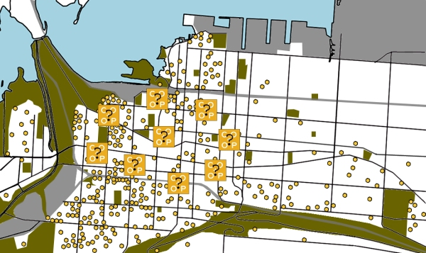 Map showing the location of Mustard Seed Members in downtown Hamilton (as mustard seeds)