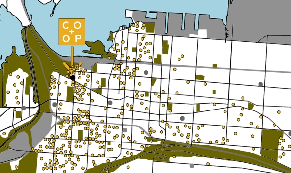 Map showing Mustard Seed downtown members and our Future Location in the Strathcona neighbourhood!