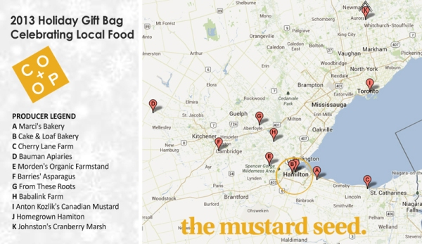 Map showing the locations of producers that are part of  The Mustard Seed's 2013 Holiday Gift Bag.