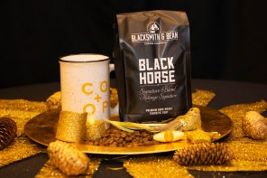 6oz bag of locally roasted, ethically sourced Blacksmith and Bean's Black Horse coffee beans